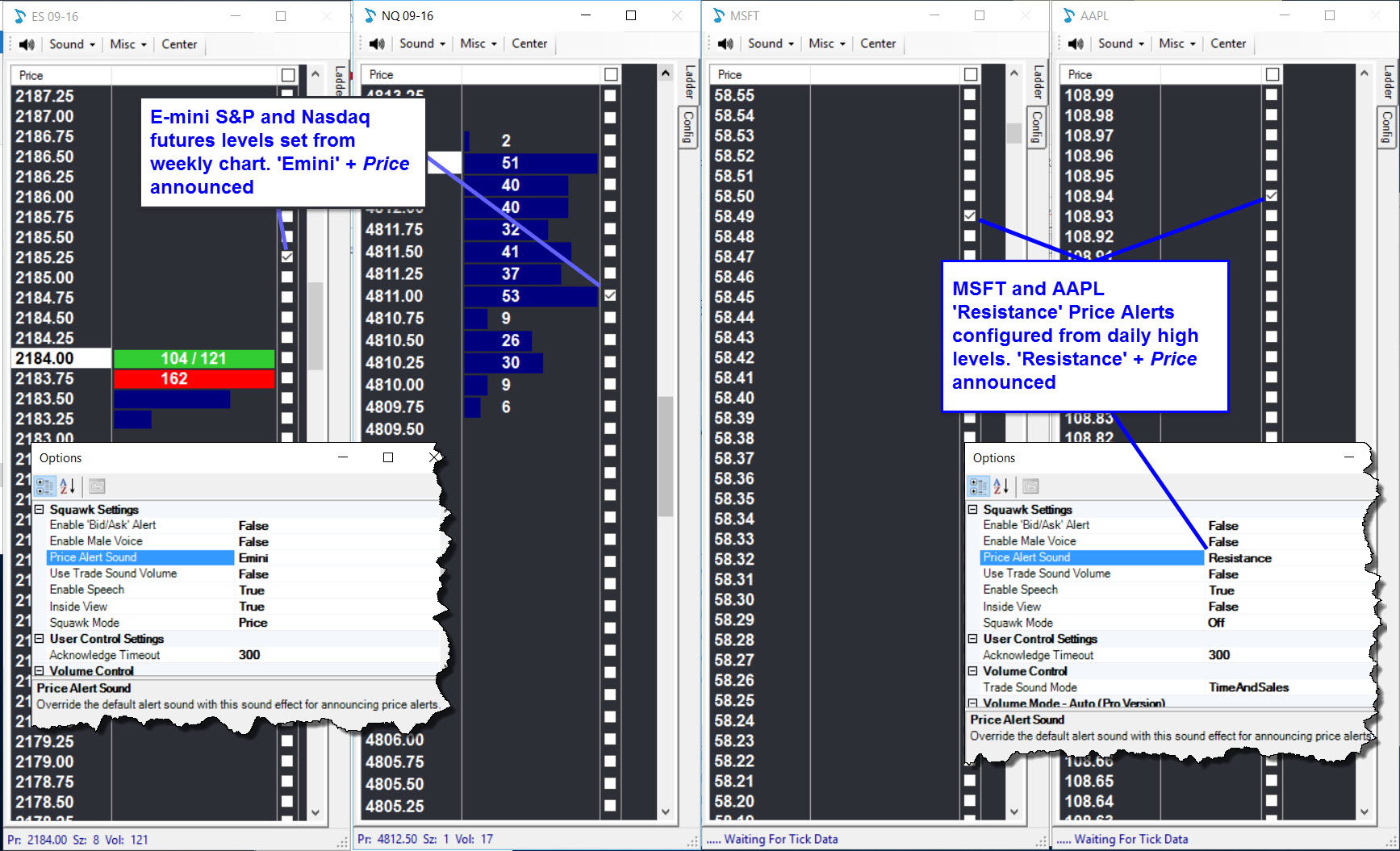 NinjaTrader Custom Squawkbox and Correlated Markets